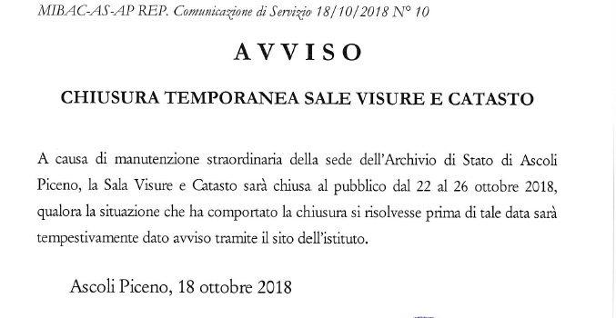 Proroga della chiusura delle sale Visure e Catasto fino al 26 Ottobre 2018