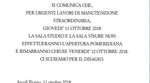 CHIUSURA STRAORDINARIA DAL POMERIGGIO DI GIOVEDI' 11 AL 12 OTTOBRE