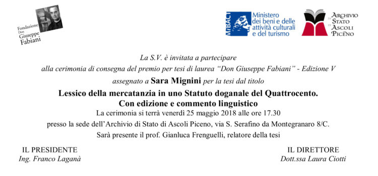 """Cerimonia per la consegna del premio """"Don Giuseppe Fabiani"""" a Sara Mignini"""
